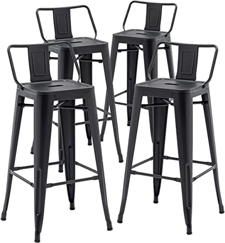 TONGLI Metal Bar Stools Set of 4 Counter Height Stools 30 Inchs Counter Stools Black Bar stool