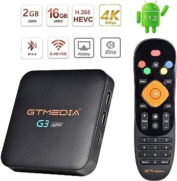 GT MEDIA G3 Alpha 4K Android TV Box 7.1.2, Wi-Fi 2.4Ghz / 5Ghz BT ...