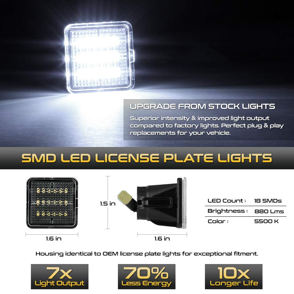 6000K Diamond White VIPMOTOZ Full LED License Plate Light Lamp Assembly Replacement For 2016-2019 Toyota Tacoma /& 2014-2019 Tundra Pickup Truck 2-Pieces