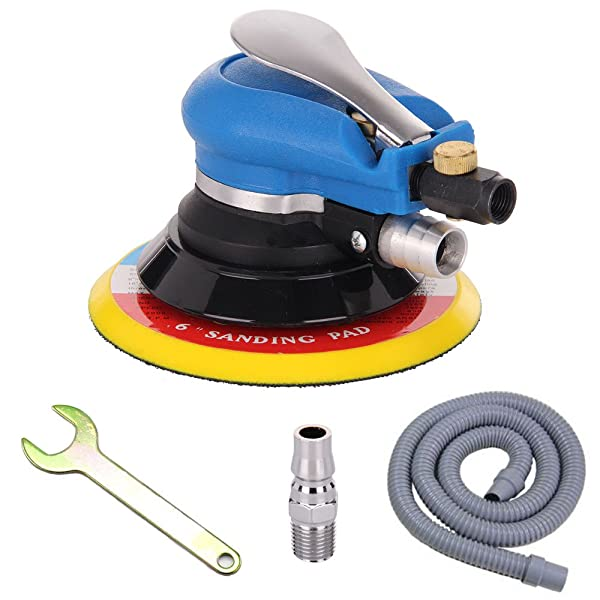 The air sander has a heavy duty unique ball bearing construction that allows for speed variation.