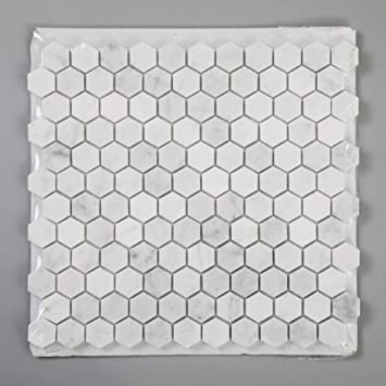 diflart carrara weisse carrera sechseckige marmor mosaikfliesen 2 5 cm sechseckig geschliffen fur kuche badezimmer wand boden 5 stuck