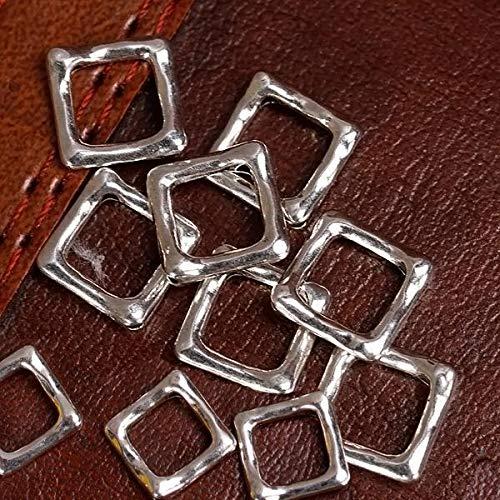(FidgetFidget Square Bead Frames 20Pcs Silver Plated 12 x 12mm Findings DIY Jewelry Making)