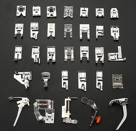 Hycy Multifunción 32 Unids Presser Máquinas De Coser Pie De Pies Ajustar A Coser Herramientas De Costura Domésticas De Casa Set Box: Amazon.es: Hogar