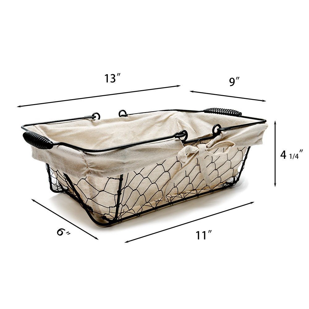 Mkono Vintage Bread Basket Black Wire Food Serving Basket with Removable Liner for Picnic Coffee Kitchen by Mkono (Image #6)