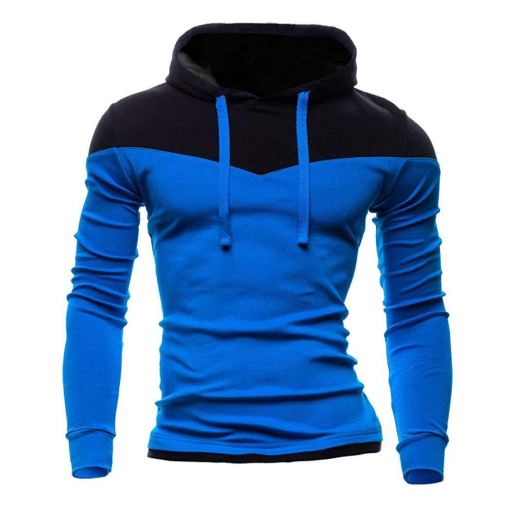 BHYDRY Men's Autumn Winter Patchwork Long Sleeve Hooded Sweatshirt Polyester Outwear Top Blouse