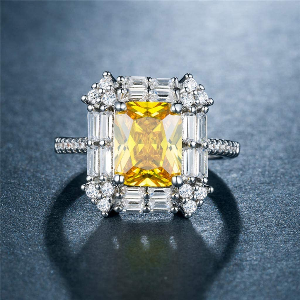 Princess Simulated Yellow Gemstones Rings for Women Ladies Exquisite Wedding Engagement Anniversary Ring Jewelry Gift