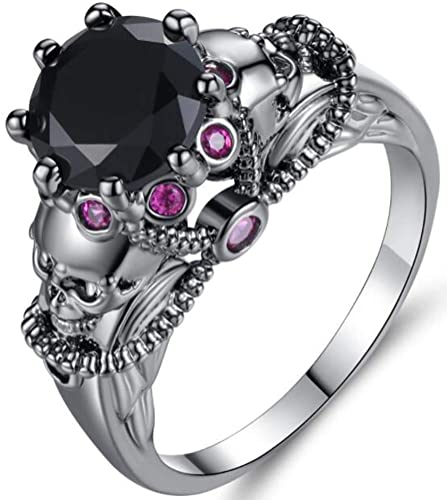 Gothic Wedding Rings.Temego Vintage Gothic Wedding Ring Black Gold Onyx Purple Amethyst Punk Biker Retro Skull Engagement Ring