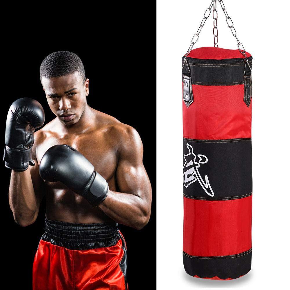 Alomejor Sac de Frappe Kick Boxing Sac de Boxe Professionnel Sac de Sable Vide avec Cha/înes pour Fitness Boxe MMA
