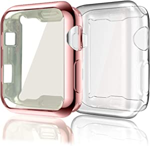 Case Compatible with Apple Watch Series 3 38mm, 2 Pack Soft TPU All-Around Clear Screen Protector Case Ultra-Thin Cover Compatible for Apple iWatch Series 3 Series 2 (Rose Pink+Clear)