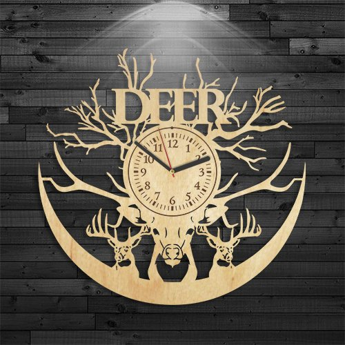 Deer Wood Clock, Wall Clock Modern, Animal Gift For Kids, Wildfowl Gift For Men, Wall Clock Vintage, Wild Deer Gift For Husband, Deer Wooden Clock, Birthday Gift, Chase Clock (Animals Wildfowl)