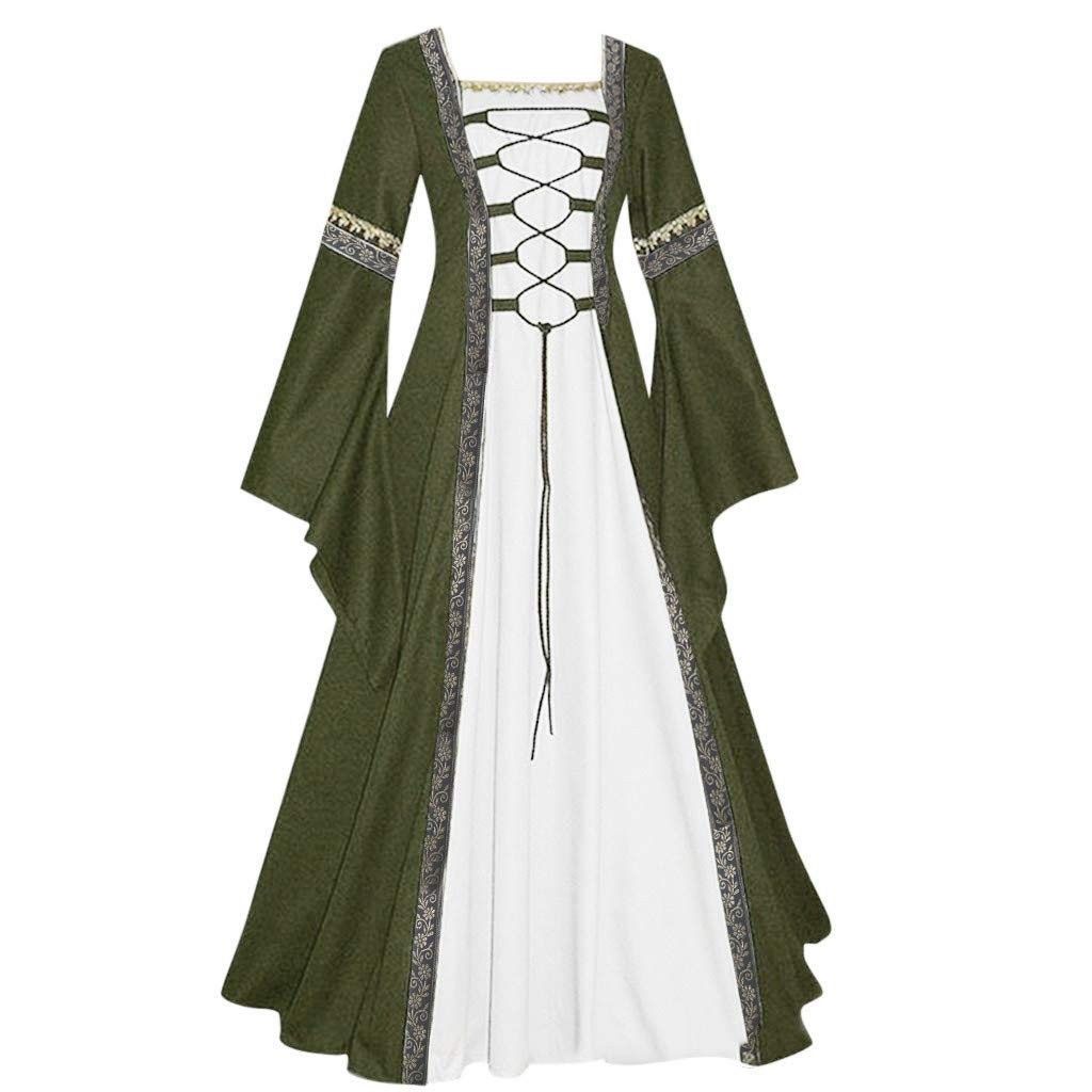 Womens Renaissance Medieval Costume Dress Lace up Irish Over Long Dresses Cosplay Retro Gown Costume Dress by Sunyastor Green