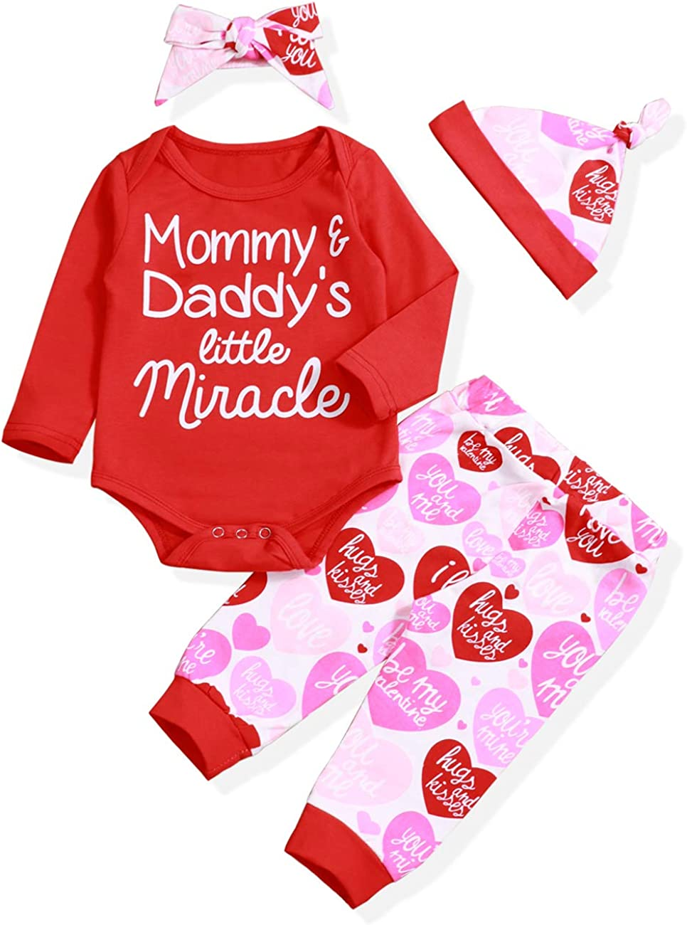 Valentine's Day Outfit Set Baby Girl Mommy&Daddy's Little Miracle Romper My 1st Valentine's Day Clothes Set