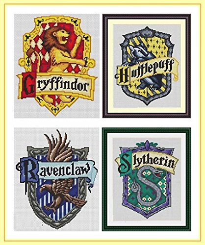 Harry Potter Badge Counted Cross Stitch Kits 17x21 cm Each, 14ct Egyptian Cotton Floss, Counted Cotton Harry Potter Cross Stitch Kits