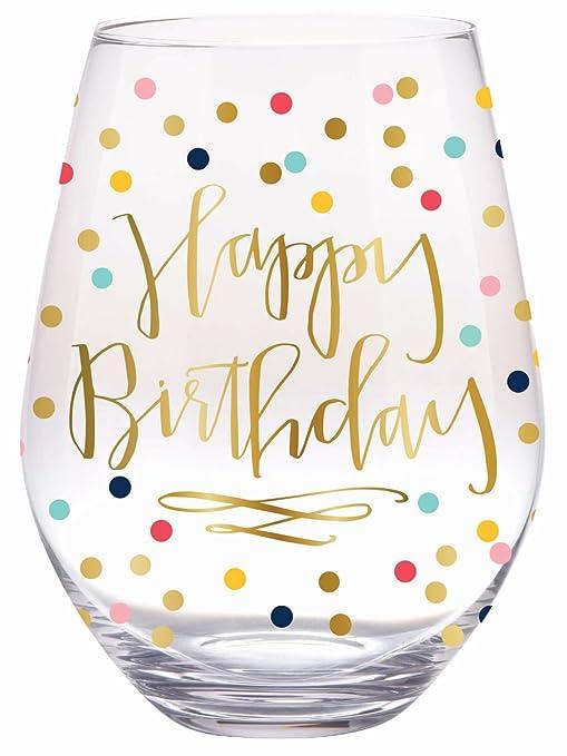 Slant Jumbo sin tallo copa de vino - Feliz Cumpleaños ...