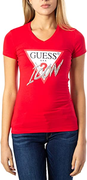 Guess T Shirt Donna LS CN Icon Tee w01i20j1300: Amazon.it