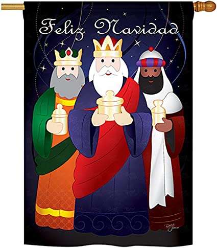 Amazon Com Breeze Decor Feliz Navidad Winter Seasonal Nativity Impressions Decorative Vertical House Flag 28 X 40 Garden Outdoor