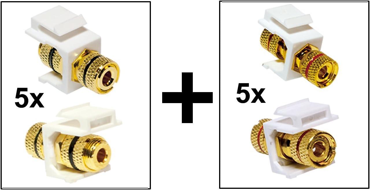 para marcar Altavoz de Audio cableado Blanco 5 Set 1/x mrkierung Rojo, 1/x Negro Faconet/®     Set con 2/x M/ódulo Keystone Jack Cable de Audio Altavoz Cable Terminal  Rosca Hembra
