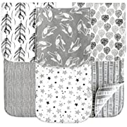 6 Pack Extra Large Organic Cotton Burp Cloths, Unisex, Reversible, with 3 Layer Inner Fleece Absorbency, 10 x22 , Neutral Patterns Boys and Girls