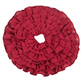 Fennco Styles Ruffled Design Holiday Decor Christmas Mini Tree Skirt (Red, 21'' Round)