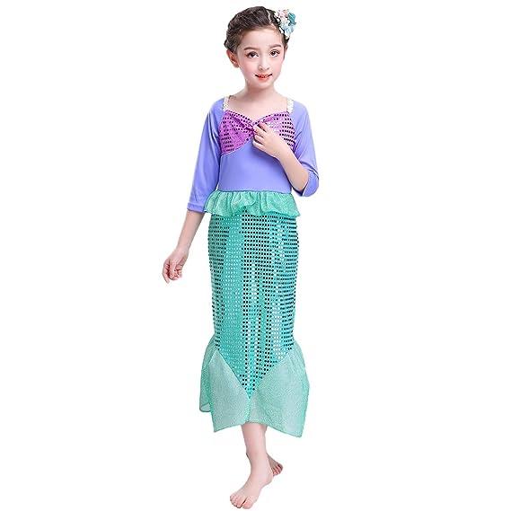 OBEEII Disfraz de Sirena Niña Infantil Traje de Princesa ...