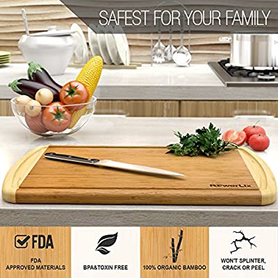 PowerLix Best ORGANIC Bamboo Wood Cutting Board, Kitchen Chopping Board with Deep Drip Groove - EXTRA LARGE &THICK and Eco-Friendly - Perfect Housewarming Gift