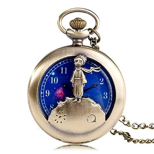 Reloj de Bolsillo de Cuarzo con diseño de Principito para Hombre, dial Azul Planeta, Reloj de Bolsillo para Regalo: Amazon.es: Relojes