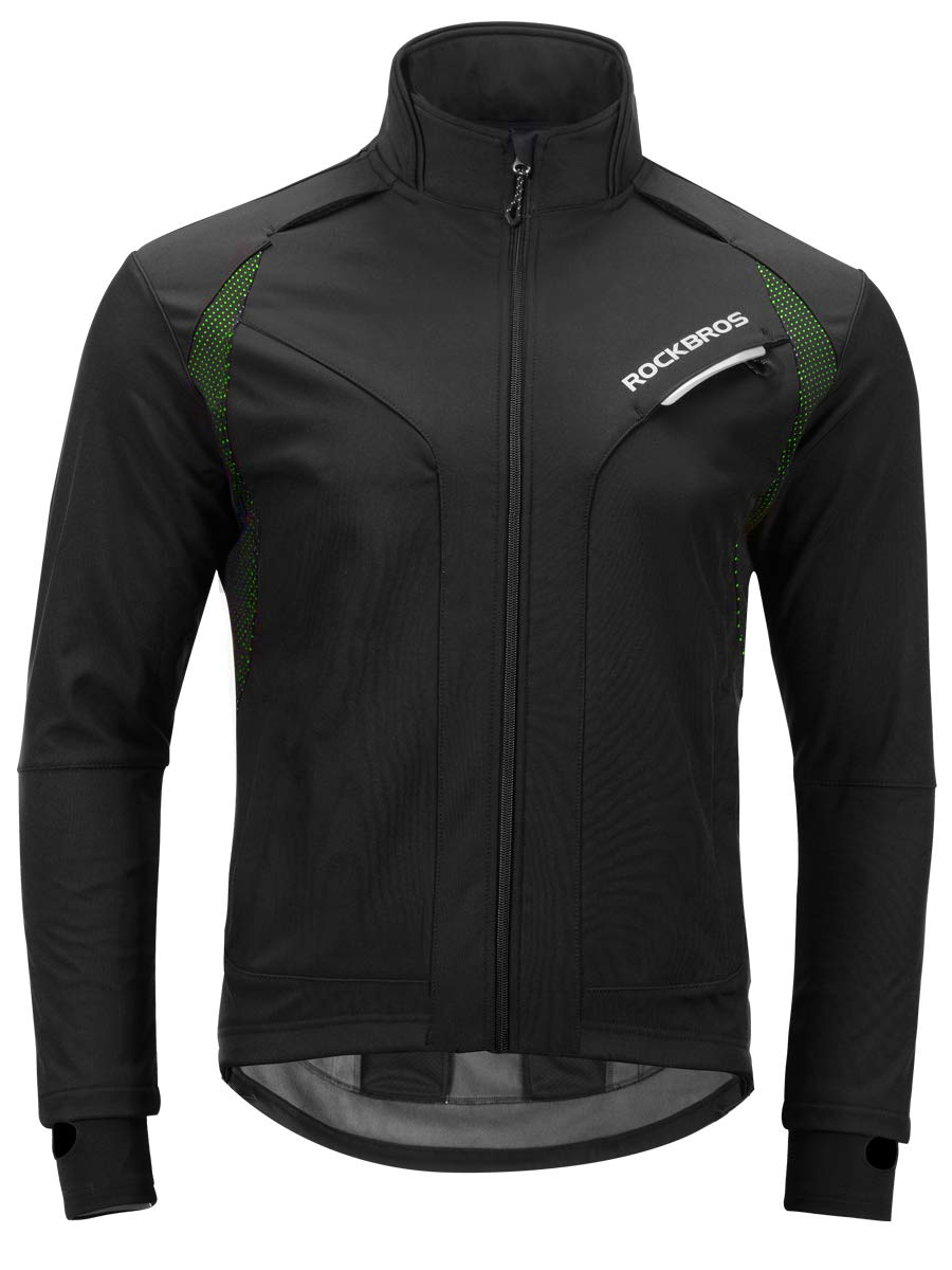 ROCKBROS Cycling Jacket Men's Winter Thermal Long Sleeve Jersey Windproof Coat Softshell Black Green