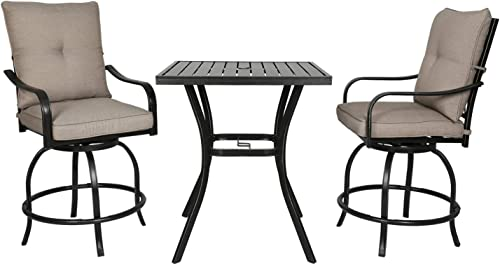 Ulax Furniture Outdoor Patio Bar Set Counter Height Table Bistro Set