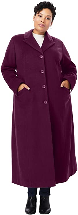 1940s Style Coats and Jackets for Sale Jessica London Womens Plus Size Full Length Wool Blend Coat $72.01 AT vintagedancer.com