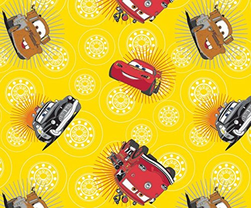 Disney Cars Wheels in Sunshine Fabric Sold by The Yard ()
