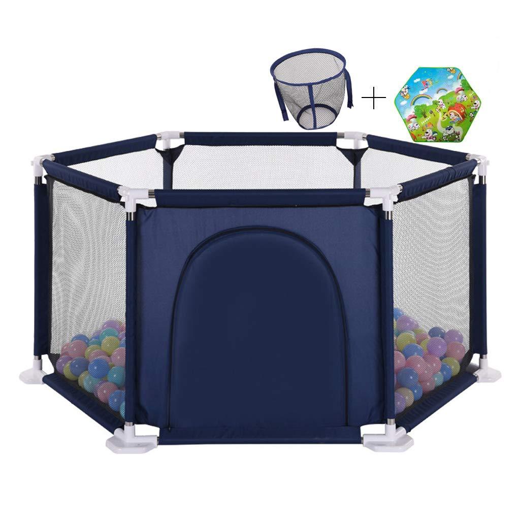 ベビーチャイルドベビーサークルフェンスキッズアクティビティセンター ゲート安全ヤードホーム通気性メッシュ六角形、200個のボールが含まれており、プレイマット(青)   B07TG1PFB7