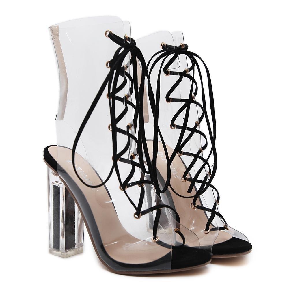 GAIHU Damen Damen Transparent PVC-Sandalen sexy Ferse Stiefel Crystal Schuhe Dicke hohe Ferse sexy transparente Kreuzbänder schwarze Arbeit Party Dress Nachtclub schwarz 41426a