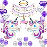 Unicorn Party Supplies, 40 Pack Birthday Banner Party Decorations for Girls with 2 Huge Unicorn Balloons, 1 Birthday Banner, 4 Pom Pom Balls, 4 Heart-shaped Balloons, 2 Lanterns and 12 Latex Balloons