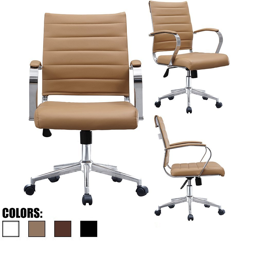 2xhome - Black- Modern Mid Back Ribbed PU Leather Swivel Tilt Adjustable Chair Designer Boss Executive Management Manager Office Chair Conference Room Work Task Computer … (Tan)