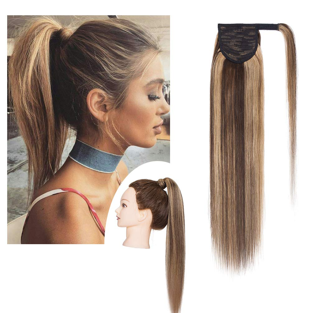 S-noilite 16 Inch Wrap Around Human Hair Ponytail Extensions for Women Clip in Remy Human Hair Ponytail Hairpiece Long Straight Silky #4P27 Medium Brown&Dark Blonde by S-noilite