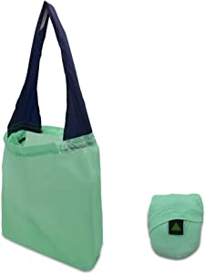 Ripstop Nylon Stretch Ball Reusable Grocery Shopping Tote Bags, Folding Pouch Convenient, Portable Storage Bags for Shopping, Travel, Home, – Seafoam/Navy 14x17