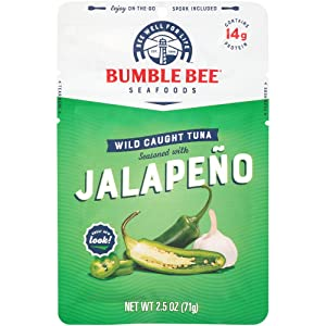BUMBLE BEE Jalapeño Seasoned Tuna Pouch with Spoon, 2.5 Ounce Pouch (Case of 12), High Protein, Keto Food, Keto Snack, Gluten Free, Paleo Food, Low Carb Snacks, Healthy Snack for Adults