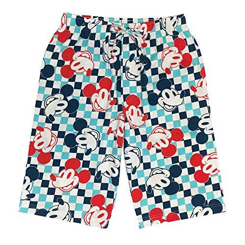 Disney Men's 100% Cotton Sleep Drawstring Pajama Shorts, Mickey Mouse, Medium 32