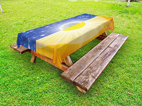 Dinner Balance (Ambesonne Space Outdoor Tablecloth, Split Design with Stars in The Sky and Sun Beams Solar Balance Nature Image Print, Decorative Washable Picnic Table Cloth, 58 X 84 inches, Blue Yellow)