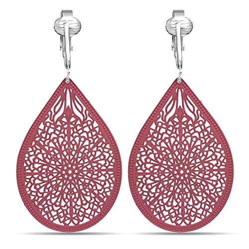 (Lovely Victorian Filigree Clip On Earrings for Women & Clip-ons, Lightweight Teardrop Leaf Dangle (Pink))