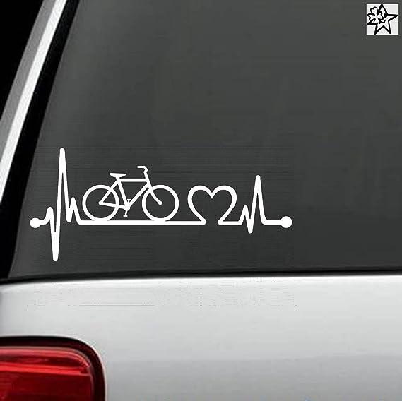 Herzschlag Aufkleber Fahrrad Rad Fahren 20cm Sticker Herz Fan Hobby Leidenschaft Liebe Für Auto Autoaufkleber Auto