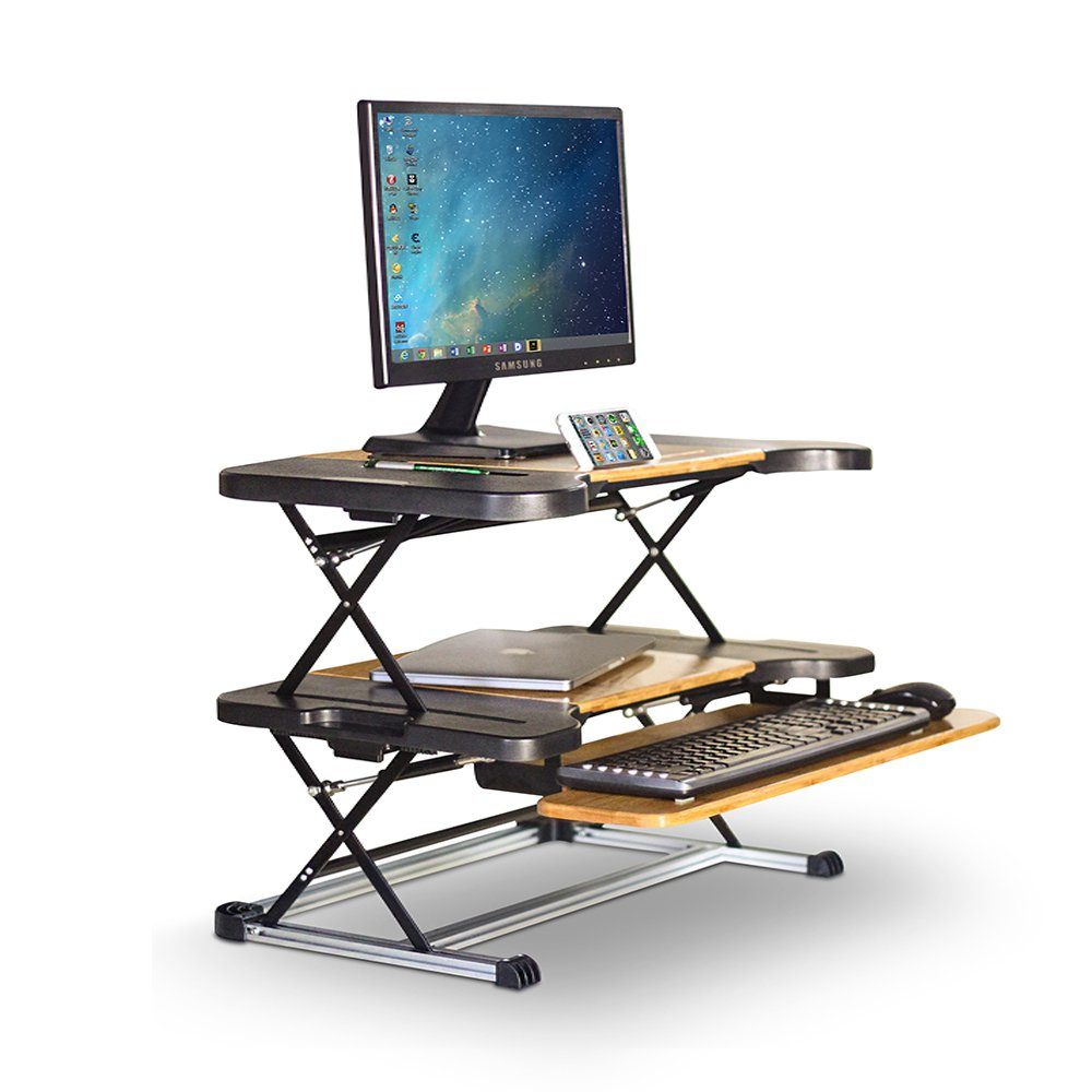Ergonomic Adjustable Bamboo Sit/Stand Desk Computer Riser with Removable Keyboard Tray by Konesky (Bamboo) by Konesky