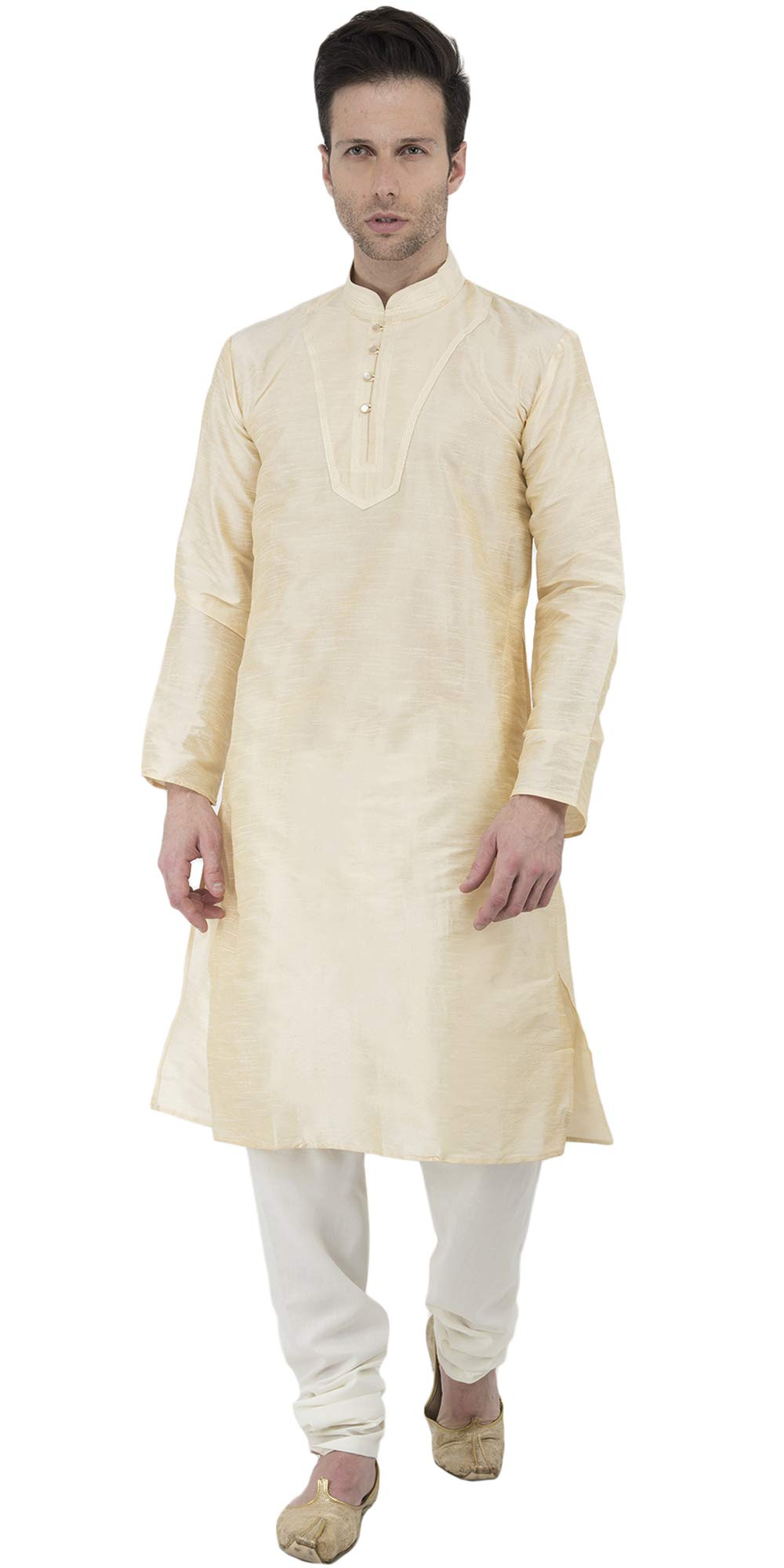 Gents Kurta Pajama Dress Wedding Indian Long Sleeve Button Down Shirt Dress -XL Beige