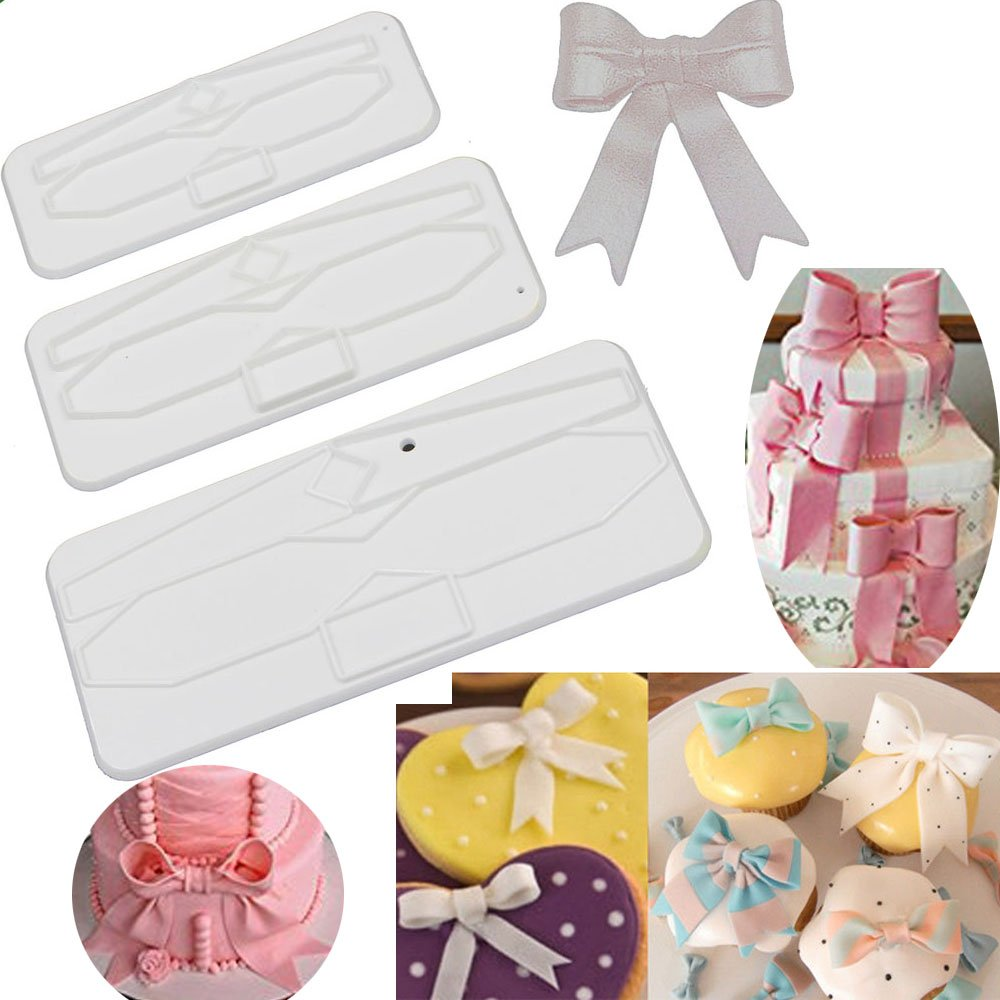 ribbon bowknot bow tie cutter set cookie impression mold plastic cutter fondant sugar paste cutter gum paste Modelling Tools for Cake Cupcake Toppers Decoration Pack of 3 by Anyana (Image #1)