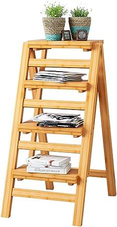 Bambú 4 Pasos Escalera de Paso Taburete Escalera Plegable Escalera de Madera Maciza Herramienta de jardín Escalera Escalera Taburetes para Cocina/Oficina/Biblioteca Color de Madera: Amazon.es: Hogar