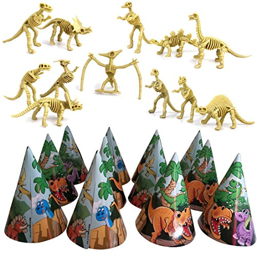 AJPSales Dinosaur Skeleton and Hat Party Pack, Dinosaur Bone Toy Figure (Set of 12) and Colorful Dino Party Hats (Pack of 12)
