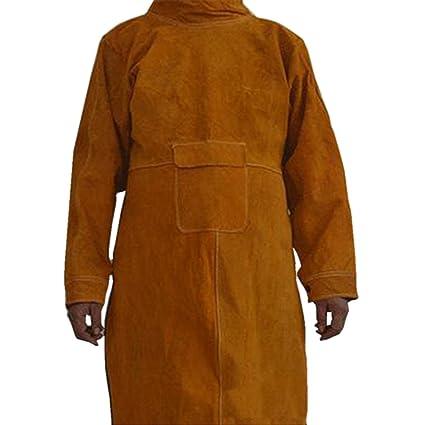 Design; Cow Leather Welding Apron Orange Flame Retardant Back Coffee Leather Welding Jacket Novel In