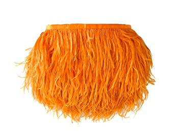 1 Yard – naranja pluma de avestruz flecos borde al por mayor proveedor