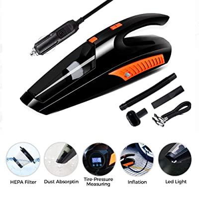 Car Vacuum, Fey-US High Power Car Vacuum Cleaner, 12V 120W Portable Corded Handheld Vacuum Cleaner for Pet Hair Car Quick Cleaning, Auto Wet Dry Use with LED Light & Tire Inflator Pump Pressure Gauge: Automotive