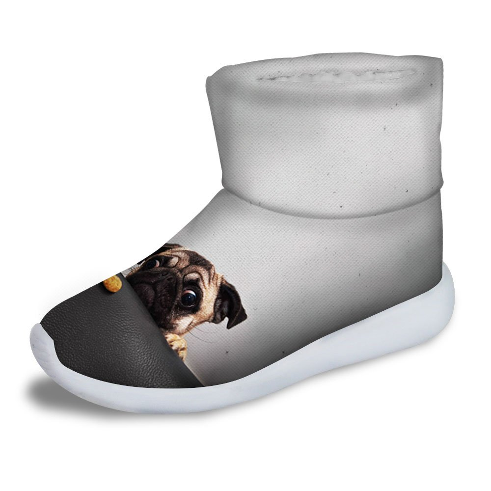 FOR U DESIGNS Gray Dog Print Kids Cold Weather Waterproof Winter Snow Boots US 3